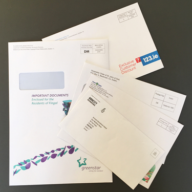 Photograph of various envelopes