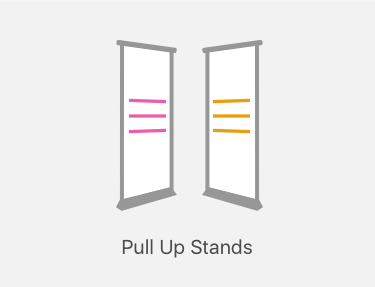 Pull up stand printing icon